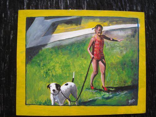 Girl with Dog by Sanjib