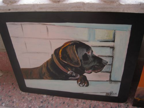 Folk art Chocolate Lab hand painted on metal