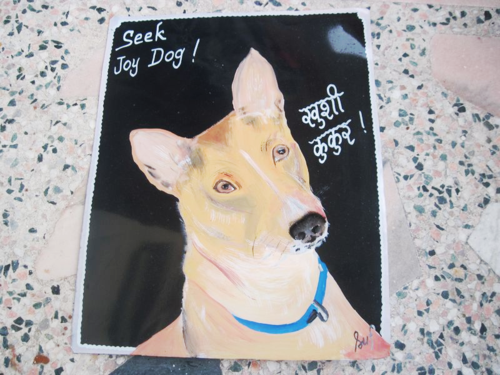 Folk art Basenji hand painted on metal