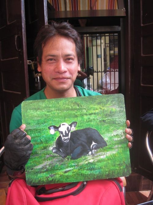 Folk Art Holy Cow from Nepal