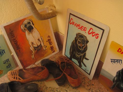 Folk art Mastiff and Folk Art Black Lab