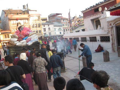 Trash day at the Boudha Stupa