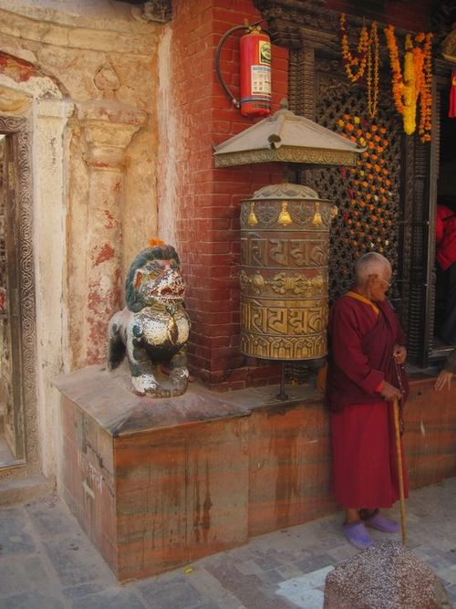 Female Monk at temple in Boudha
