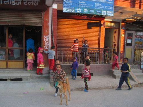 Kids play on the streets of Kathmandu