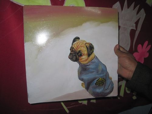 Folk art pug in a harley davidson jacket