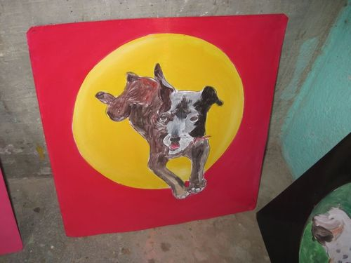 Folk art Patterdale/Staffie mix