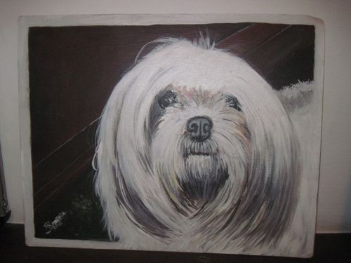 Folk art Lhasa Apso