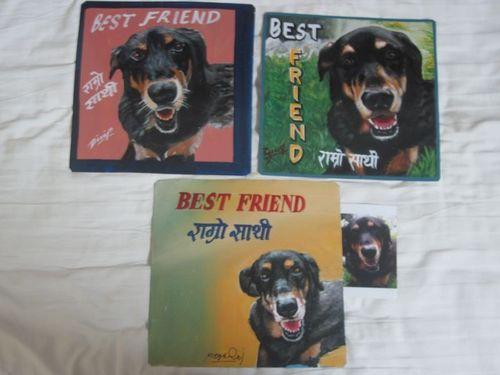 Folk art brown & white Dog