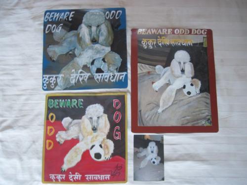 Folk art White Standard Poodle