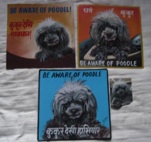 Folk art Grey Poodle