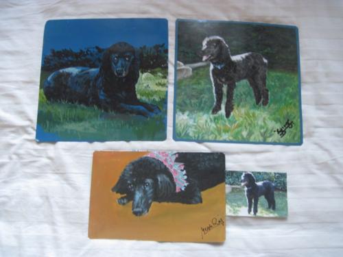 Folk art Black Standard Poodle