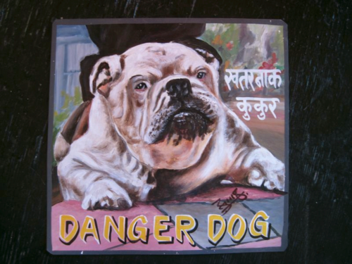 Folk art portrait of a Bulldog
