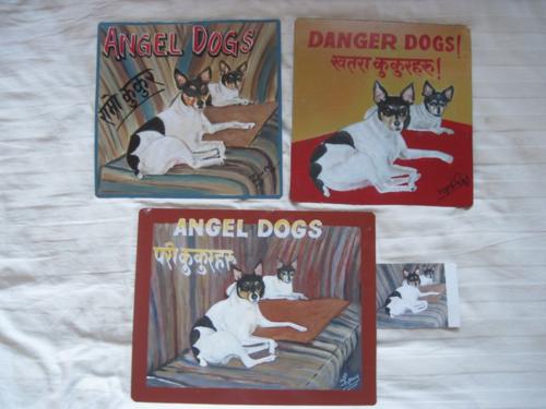 Folk Art Rat Terriers hand painted on metal