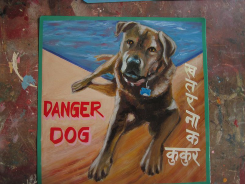 Folk art brown dog