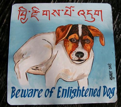 Folk art Jack Russell Terrier hand painted on metal in Tibetan Script