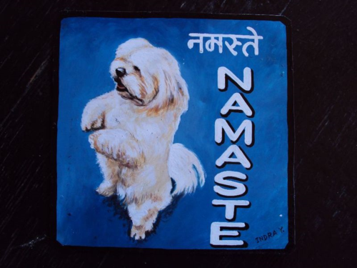 Folk art Lhasa Apso hand painted on metal by a sign painter from Kathmandu