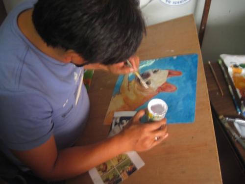 Folk art French Bulldog hand painted on metal