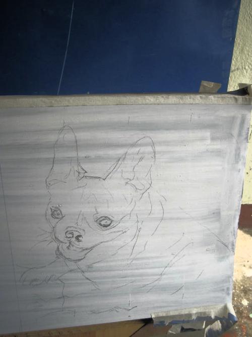 Folk art Beware of French Bulldog hand painted on metal