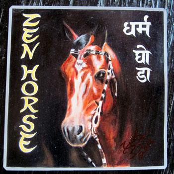 Folk art horse hand painted on metal
