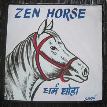 Folk art white horse hand painted on metal