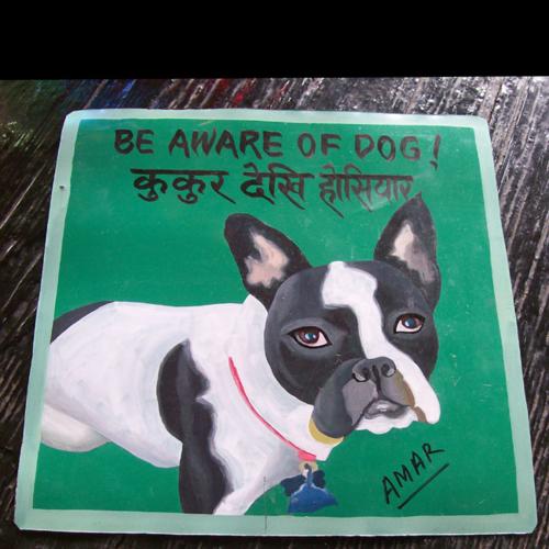 folk art Boston Terrier painting on metal