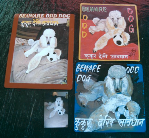 Folk art white Poodle