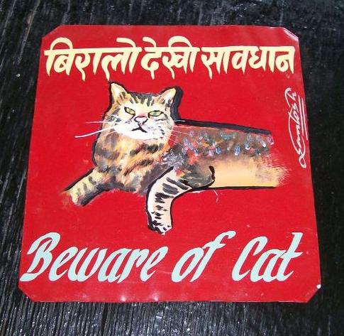 Folk art beware of tabby cat hand painted on metal
