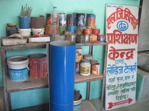 Sign painter supplies in a Kathmandu artist studio
