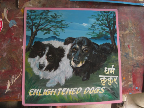 Folk art Dogs hand painted on metal