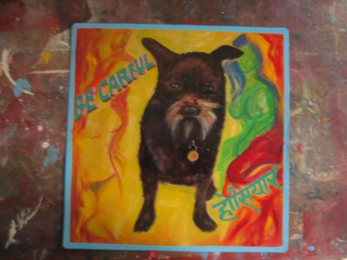 Folk art Shaggy dog Beware of Dog sign