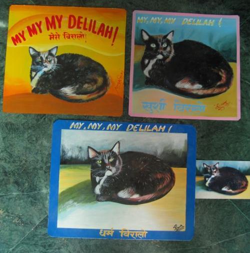 Folk art Tuxedo Cat hand painted on metal