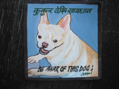 Folk art beware of French Bulldog hand painted on metal