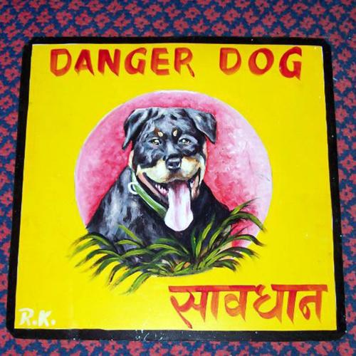 Folk art Rottweiler puppy hand painted on metal
