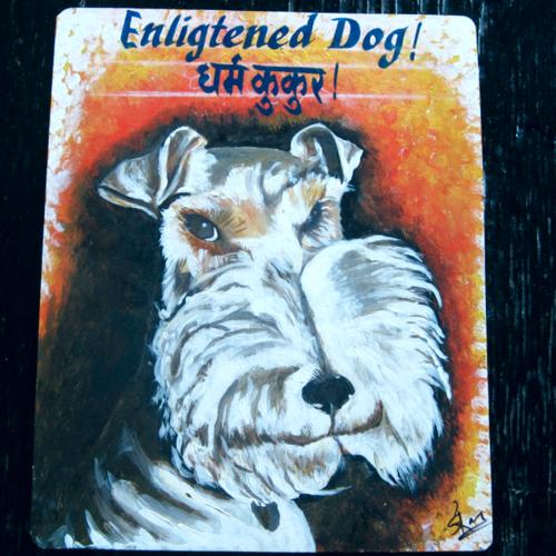 Folk art Fox Terrier hand painted on metal