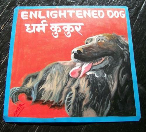 Folk art black dog hand painted on metal