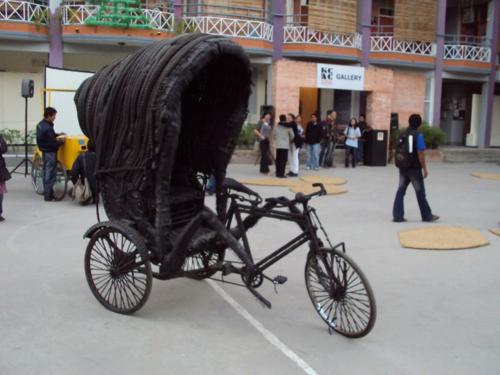 Rickshaw art made form tires