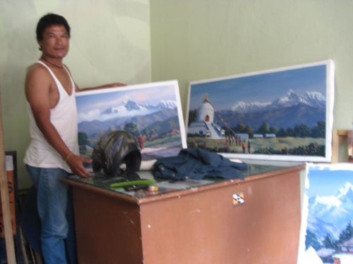 Nepali painter with his art