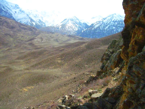 View of the Himalayas from a cave in Mustang