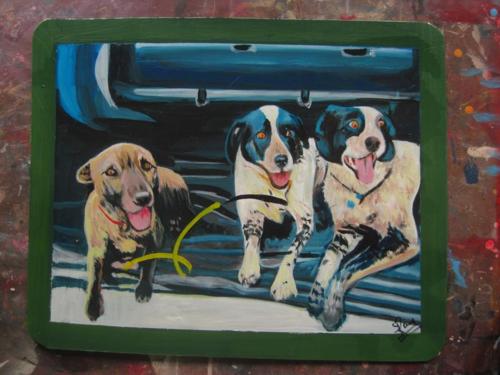 Folk art Australian Dogs hand painted on metal