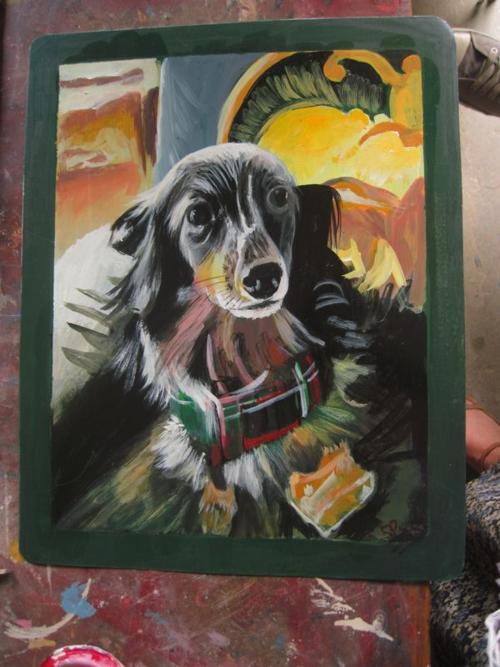 Folk art silver dapple dachshund