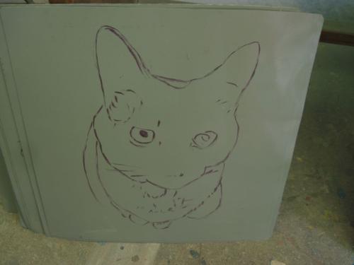 Folk art Siamese Cat hand painted on metal