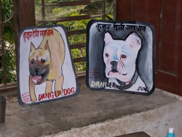 Folk art Beware of Dog signs in Nepal