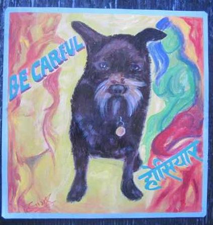 Folk art Shaggy dog hand painted on metal