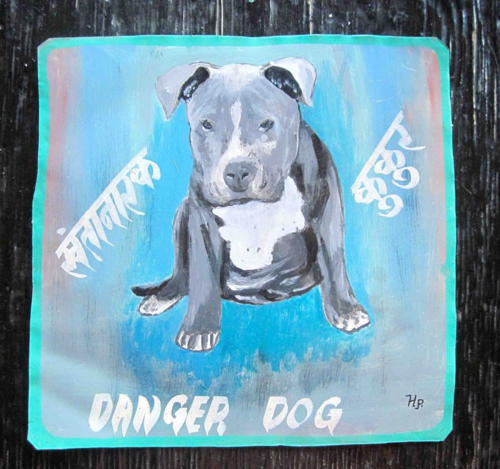 Folk art Pit Bull Puppy hand painted on metal