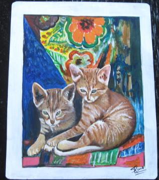 Folk art Ginger Kittens hand painted on metal
