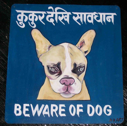 Folk art French Bulldog puppy