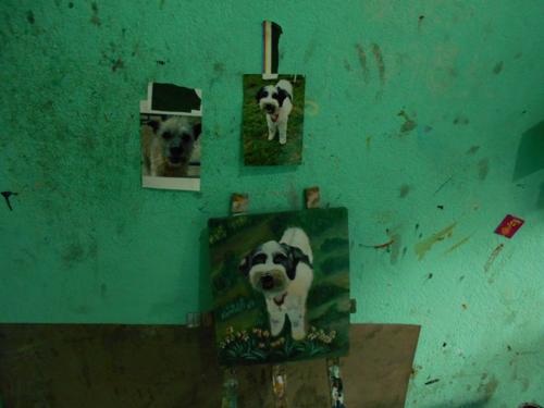Folk art Tibetan Terrier hand painted on metal in Nepal