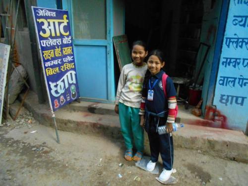 Little Sherpa girls in Kathmandu