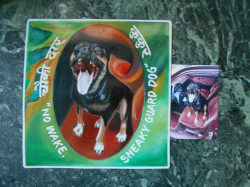 Folk art Rottweiler/Lab mix hand painted on metal