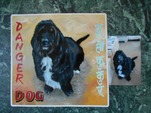Folk art Basset Wolfhound mix hand painted on metal